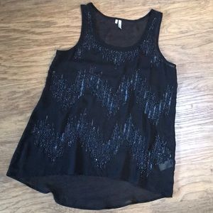 Sequined and beaded tank